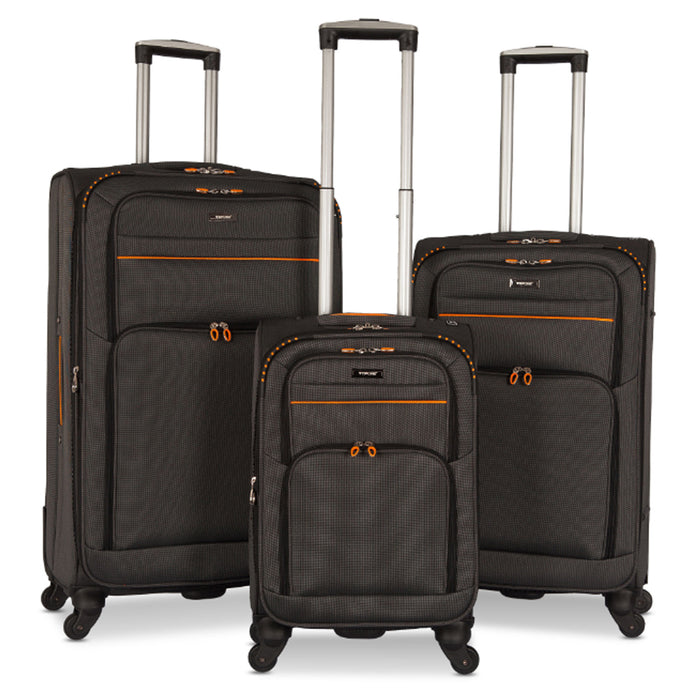 3 Luggage Set Black Lightweight Spinning Rolling Suitcase Travel Carry On bags