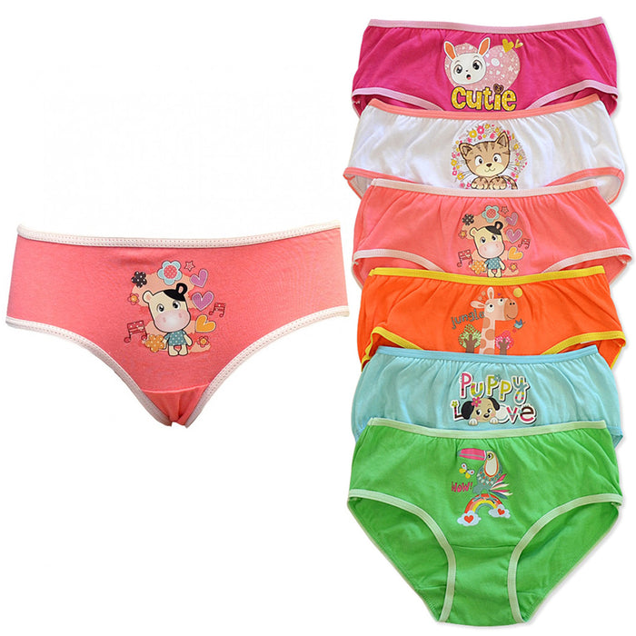 6 Pc Girls Briefs Panties 100% Cotton Underwear Cute Children Panty Kids Size S