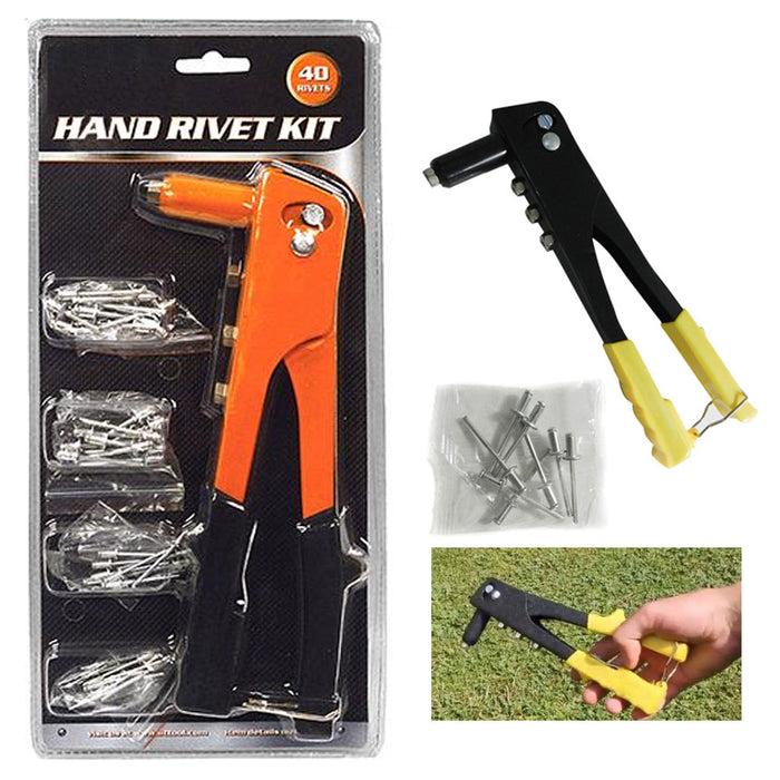 Pop Riveter Gun Kit 36 Pc Blind Rivet Hand Tool Set Gutter Repair Heavy Duty