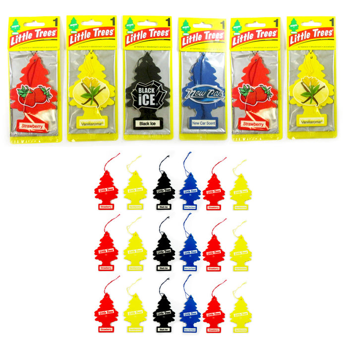 24 Pc Little Trees Car Scent Home Air Freshener Hanging Office Assorted Ornament