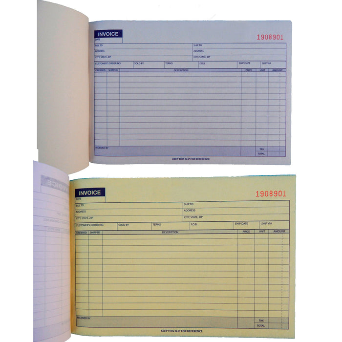 5 x Carbonless Invoice Receipt Record Book 2 Part 50 Sets Duplicate Receipt Copy