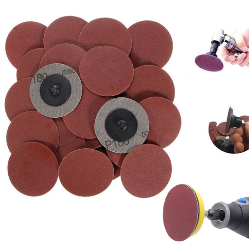 100PC 2 Grit Cleaning Conditioning Roll Lock Surface Sanding Discs Polish Tools