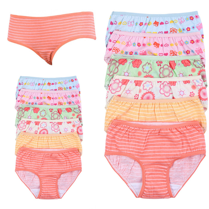 12 Girls Panties Underwear Underpants Briefs Kid Design 100% Cotton Child Size S