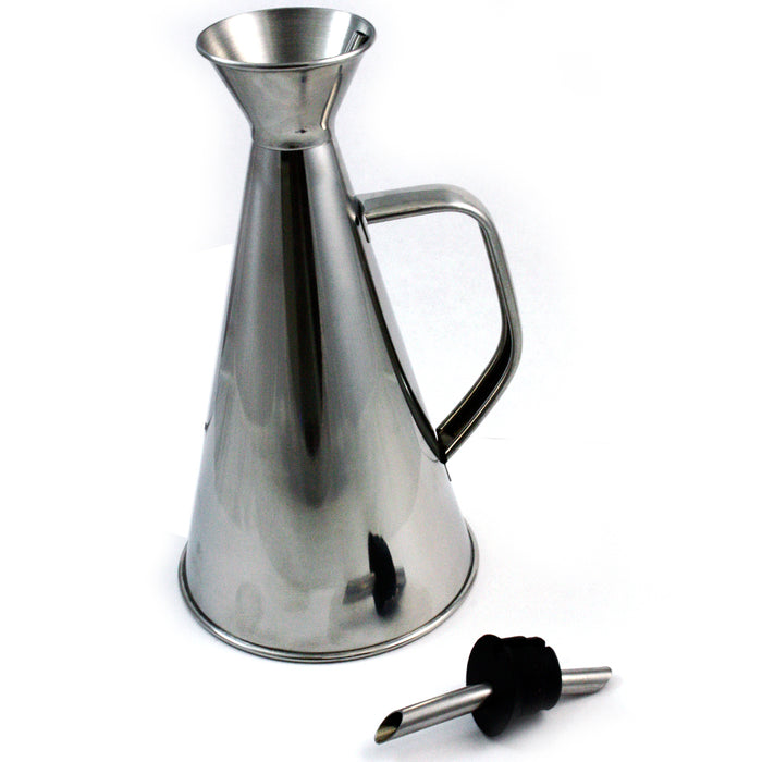 Stainless Steel Oil Pourer Cruet Dispenser 17 Oz Can Drizzler Spout Kitchen Tool