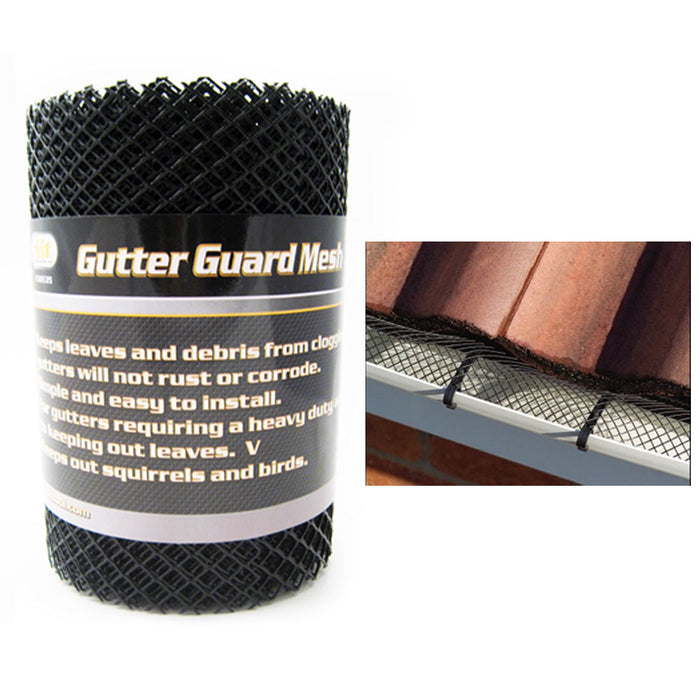 "Gutter Guard Mesh 16 Ft X 6In Black Plastic 5"" & 6"" Gutters Cover Easy Install"