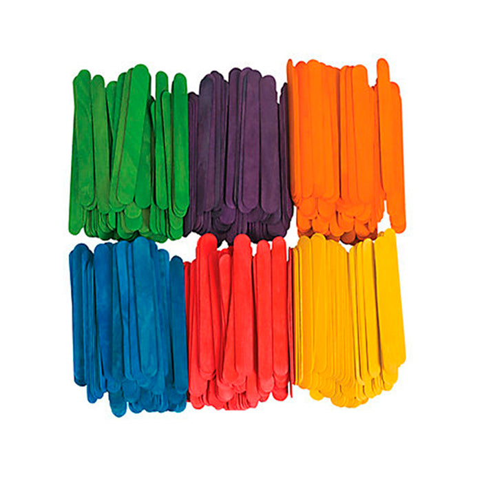 200 Pcs Wood Popsicle Sticks Assorted Colors Wooden Craft Sticks 4-1/2 x 3/8 New