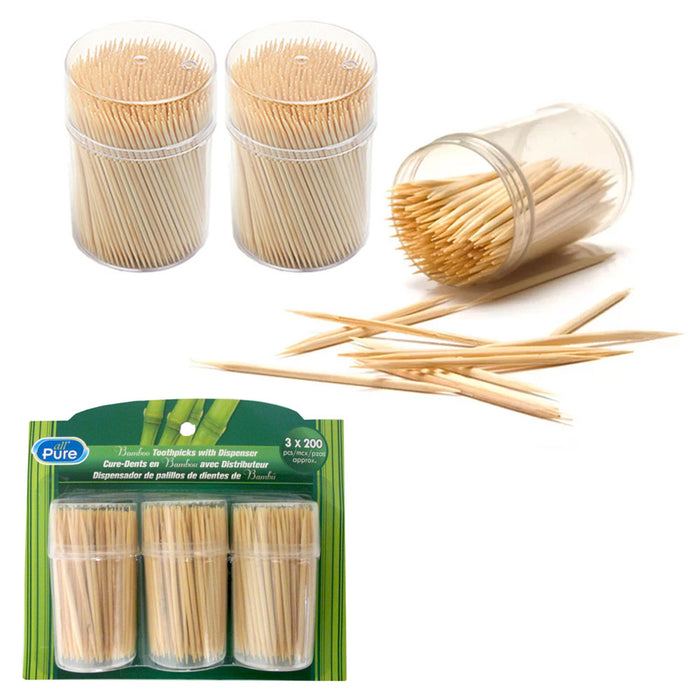 600 Wooden Round Toothpicks 3 Pack Oral Dental Care Holder Barware Portable Camp