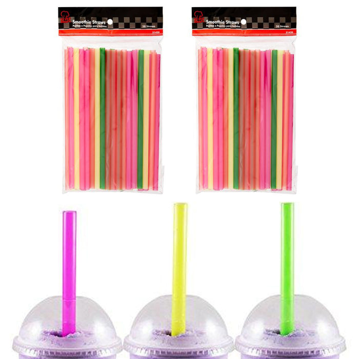 100 Pcs Neon Drinking Straws Smoothie Milkshake Boba Bubble Tea Plastic Jumbo