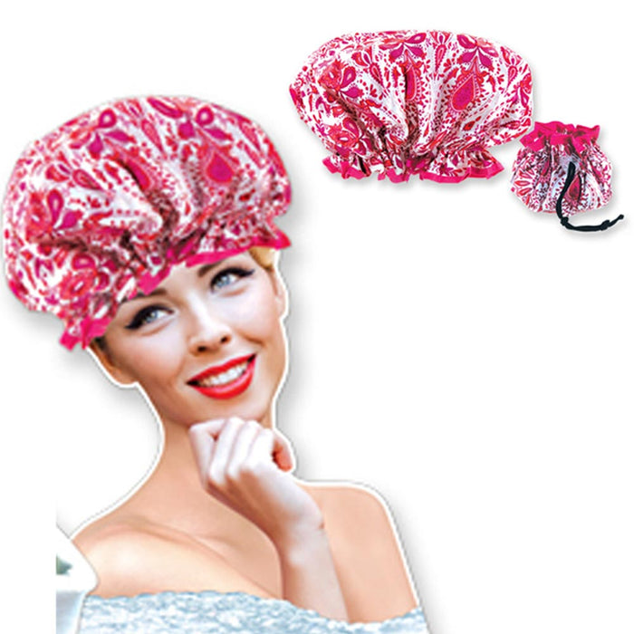 Stylish Shower Cap Satin Bouffant Pouch Hat Bath Hair Waterproof Bathing Spa New