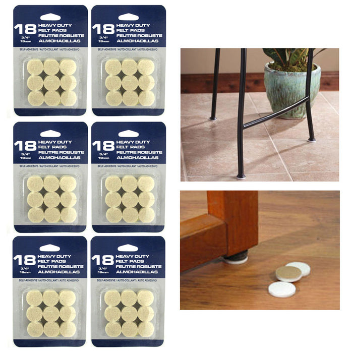 108 Pc Self Adhesive Felt Protectors Pads Furniture Floor Round Chair Sofa Table