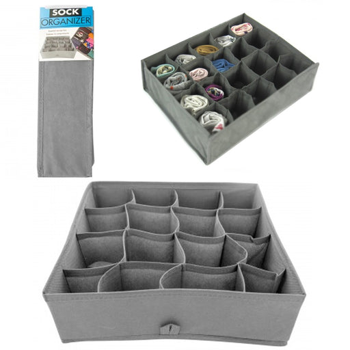 1 Sock Organizer 16 Section Drawer Underwear Closet Home Storage Box Case Folds
