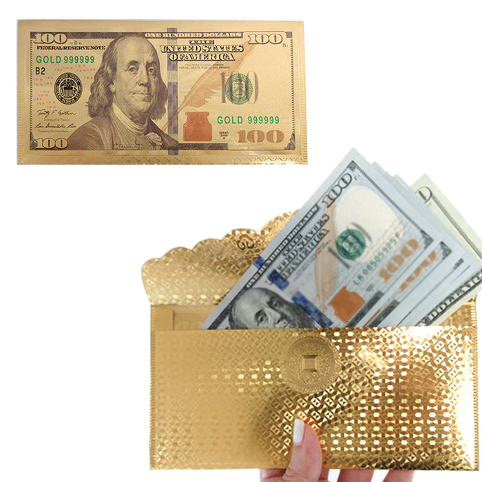 1 X $100 Dollar Bill Envelope Gift Money Gold Foil Plated Banknote Card Sleeve