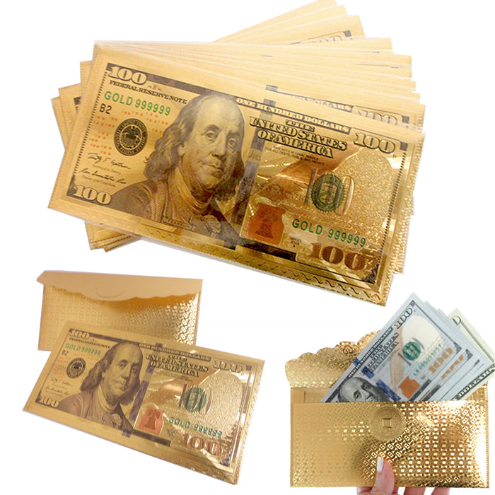 10 X $100 Dollar Bill Envelope Money Card Gift Gold Foil Plated Banknote Sleeve