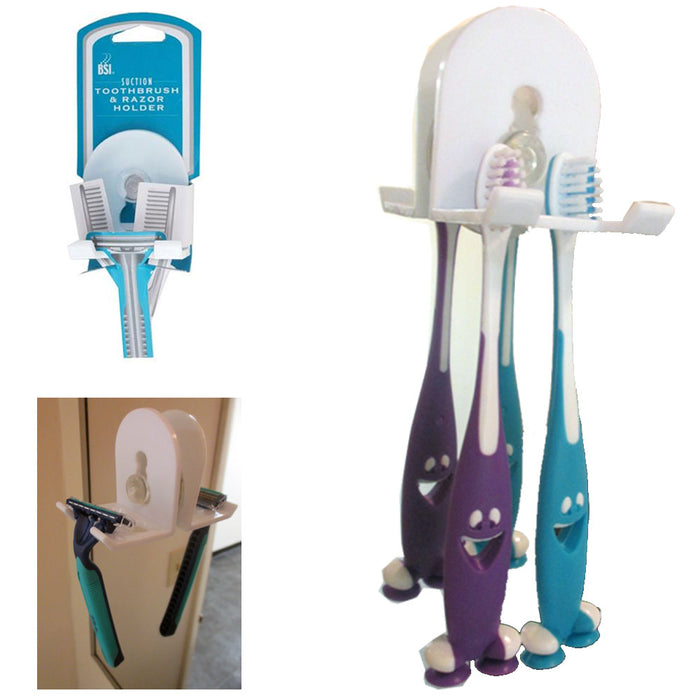Toothbrush Razor Holder Suction Wall Mount Grip Plastic Stand Home Bathroom Tool
