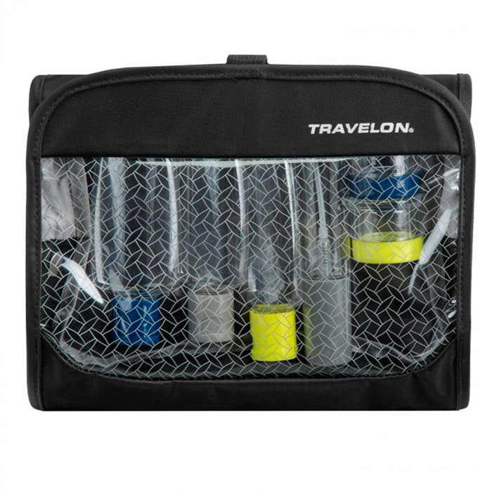 Travelon Toiletry Travel Bag Women's Trifold Wet/Dry 1 Quart Bag Bottles Black