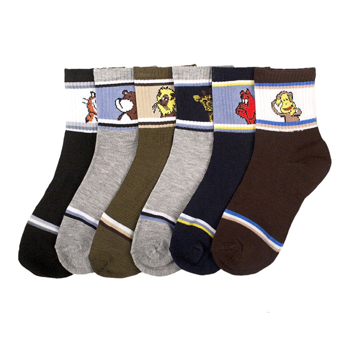 New 12 Pairs Packs Size 4-6 Kids Boys Crew Socks Cartoon Design Patterned School