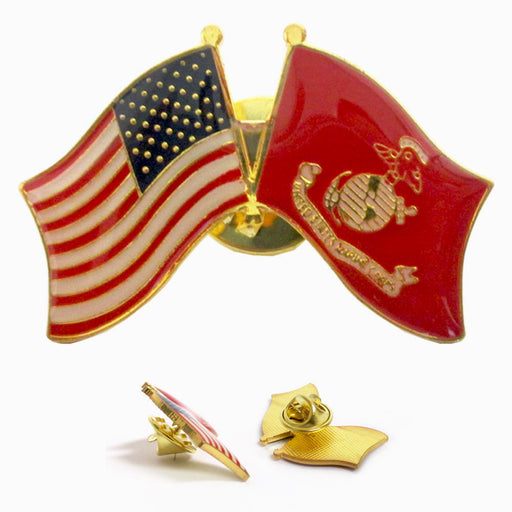1 Pc Marine Corps American Crossed Flags Lapel Pin US Flag Military Veteran USMC
