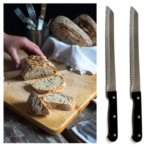 2 X 8 inch Bread Knife Sharp Stainless Steel Serrated Edges Blade Loaf Slicer