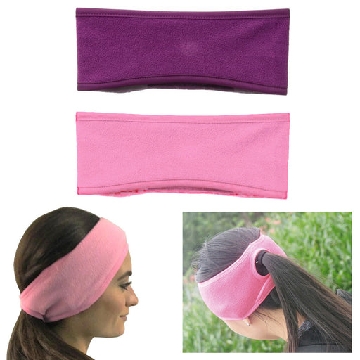 2 Ponytail Headband  Earmuff Wrap Ear Warmers Fleece Women Girl Winter Cold Wind
