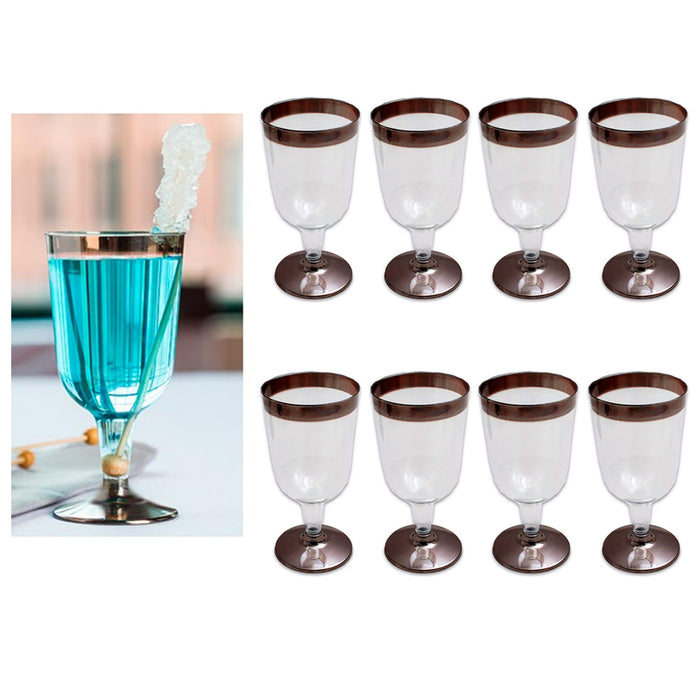 8pc Plastic Champagne Wine Flute Disposable Glasses 6oz Wedding Party Bronze New