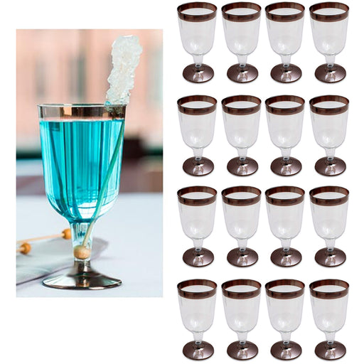 16 Pc Plastic Champagne Wine Flute Disposable Glasses 6oz Wedding Party Bronze