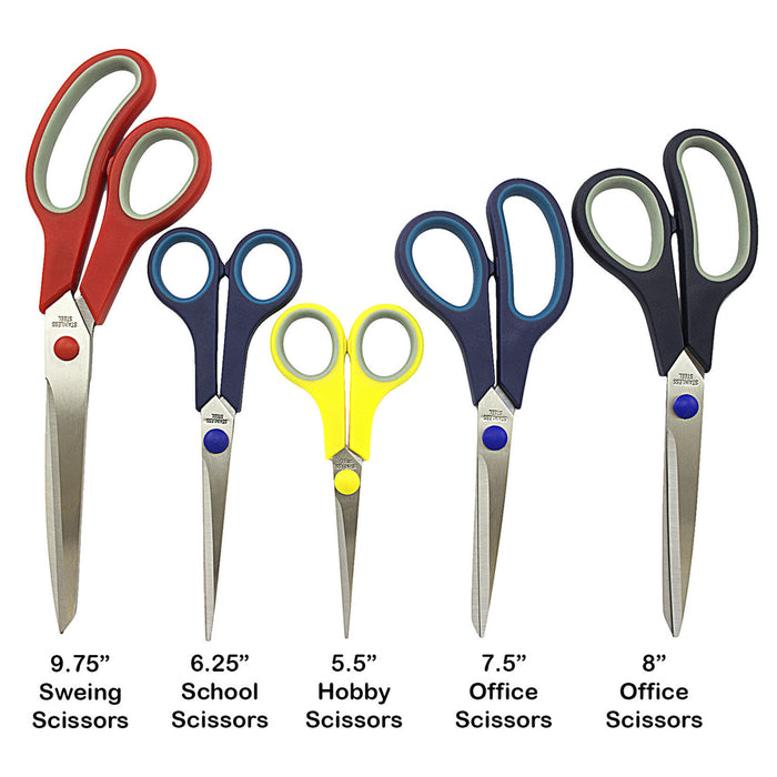 5 Piece Scissors Set Stainless Steel Comfort Grip Sewing Dress Hobby Tool Crafts