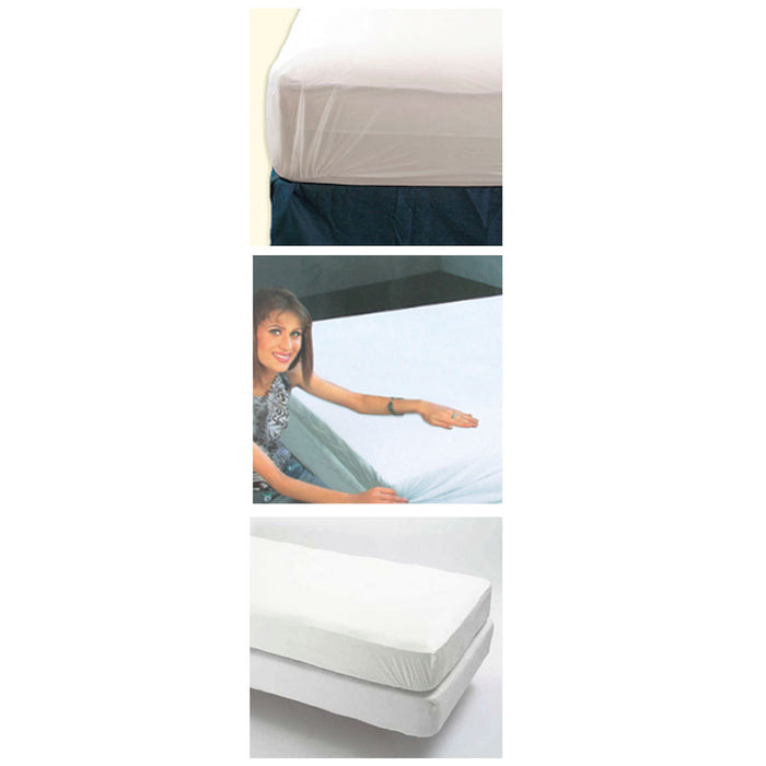 2 Pc King Size Fitted Mattress Cover Vinyl Waterproof Bug Allergy Protector Bed