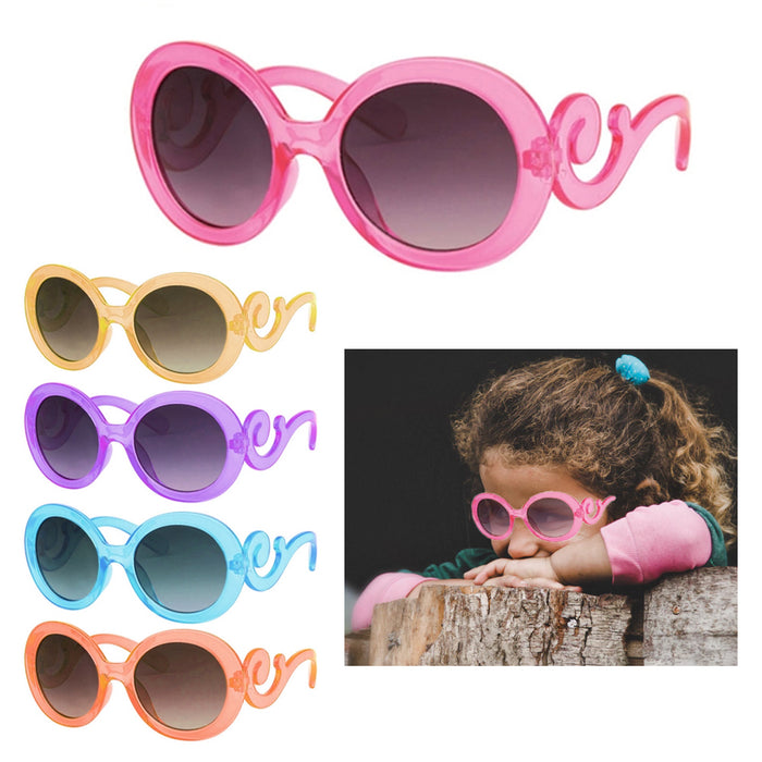 2 Kids Toddler Baby Designer Inspired Round Frame Sunglasses Baroque Swirl Arms