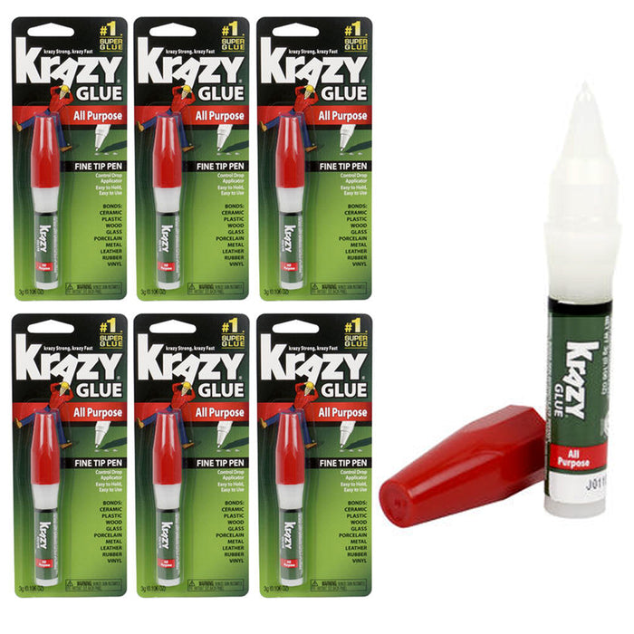 6 Krazy Glue Super All Purpose Fine Tip Pen Control Ultra Strong Instant Repair