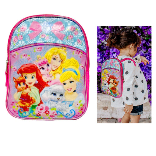 "Disney Princess Palace Pets 11"" Backpack Ariel Cinderella Girl School Bookbag !"