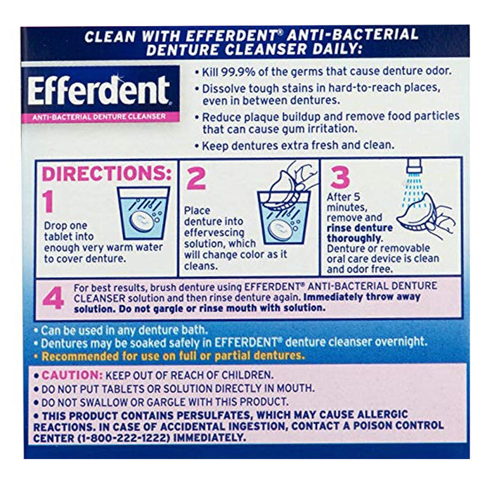 40 Ct Efferdent Denture Cleanser Tablets Anti-Bacterial Effervescent Cleaning