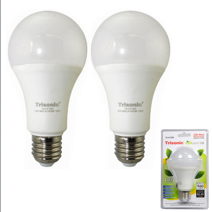 2 X Daylight 12 Watt Energy LED Light Bulb 100 W Output Replacement 960 Lumens