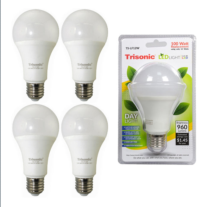 4Pk LED Light Bulb Daylight 12 Watt Energy 960 Lumens 100 W Output Replacement