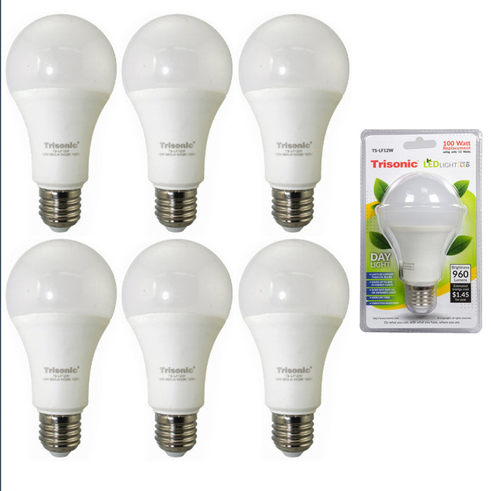 6 Pc Daylight 12 Watt Energy LED Light Bulb 100 W Output Replacement 960 Lumens