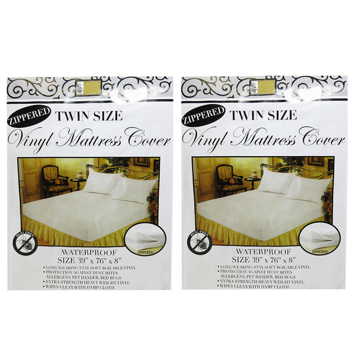 2 Pc Twin Vinyl Zippered Mattress Cover Waterproof Bed-Bug Proof Dust Protector