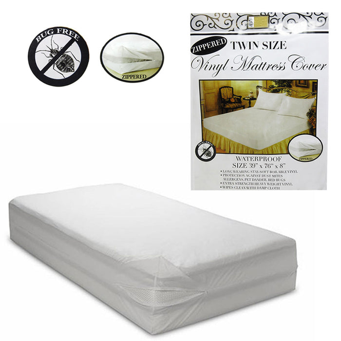 6 Pc Twin Vinyl Zippered Mattress Cover Waterproof Bed-Bug Proof Dust Protector