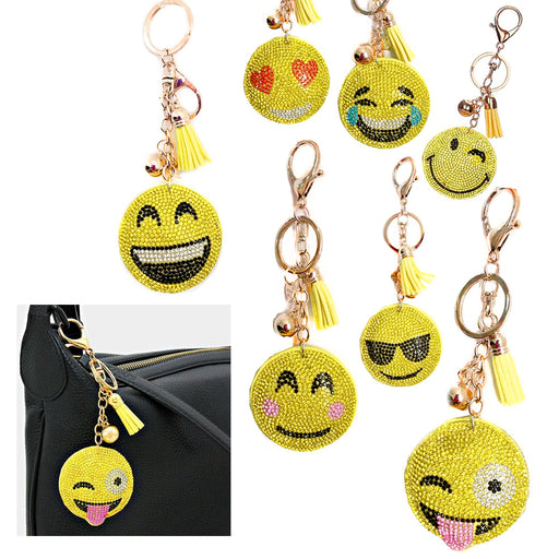 2 Emoji Key Chains Rhinestone Studded Smiley Face Keychain Keyring Pendant Gift