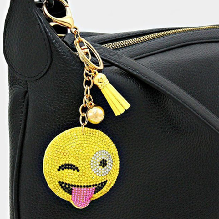 8 Studded Smiley Face Emoji Key Chains Rhinestone Emoticon Party Gifts Keyring