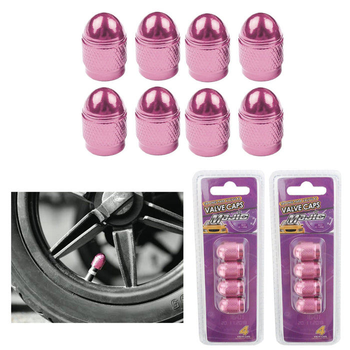8 Chrome Pink Valve Caps Car Bling Tire Wheel Air Stem Truck Hot Rod Universal