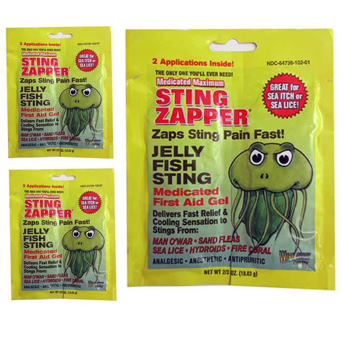6 Pack Sting Zapper Jellyfish Sea Life First Aid Medicated Gel Wipe Fast Relief