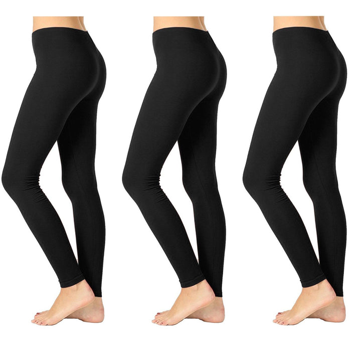 3 Womens Leggings Ankle Length Footless Seamless Pant Stretch Opaque Black !