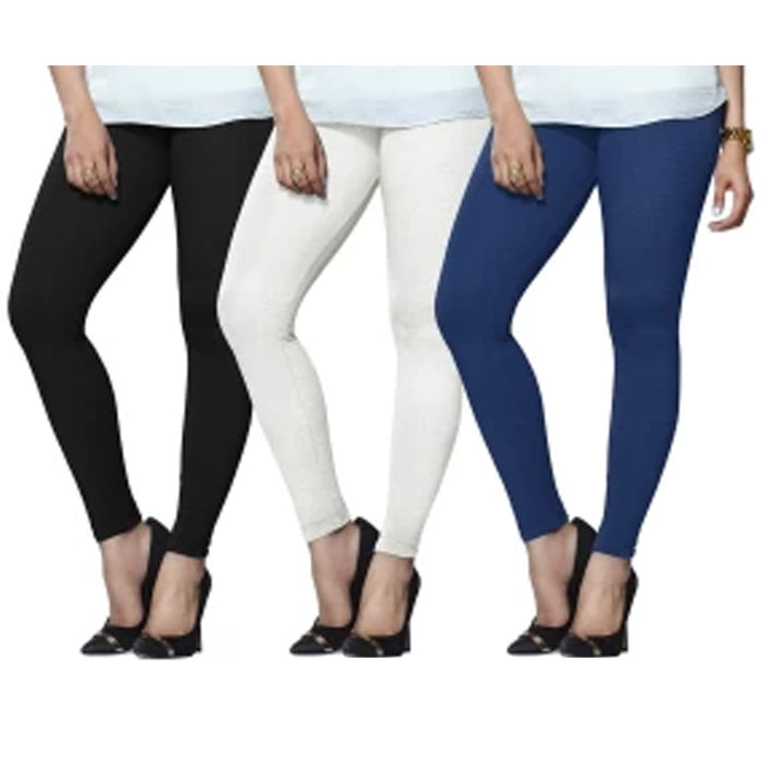 3 Womens Leggings Set Ankle Length Footless Seamless Stretch Black White Navy !