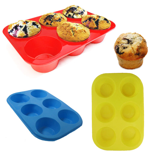 6 Cup Round Silicone Cookie Muffin Baking Mold Handmade Soap Moulds Biscuit Pan