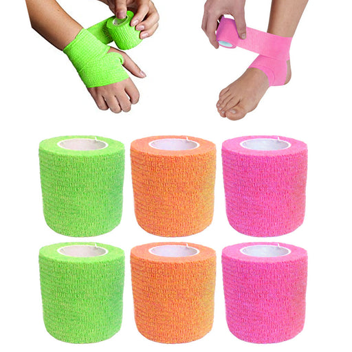 6 Self Adhesive Sports Wrap Bandage Gauze Elastic Adherent Tape First Aid Kit