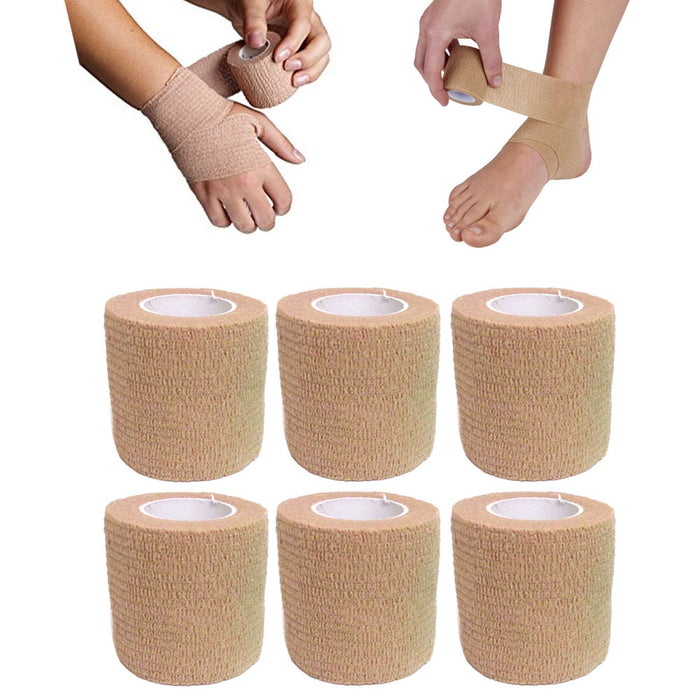 "12 Pc 2"" x 2yd Self Adhesive Bandage Rolls Elastic Adherent Tape First Aid Wrap"