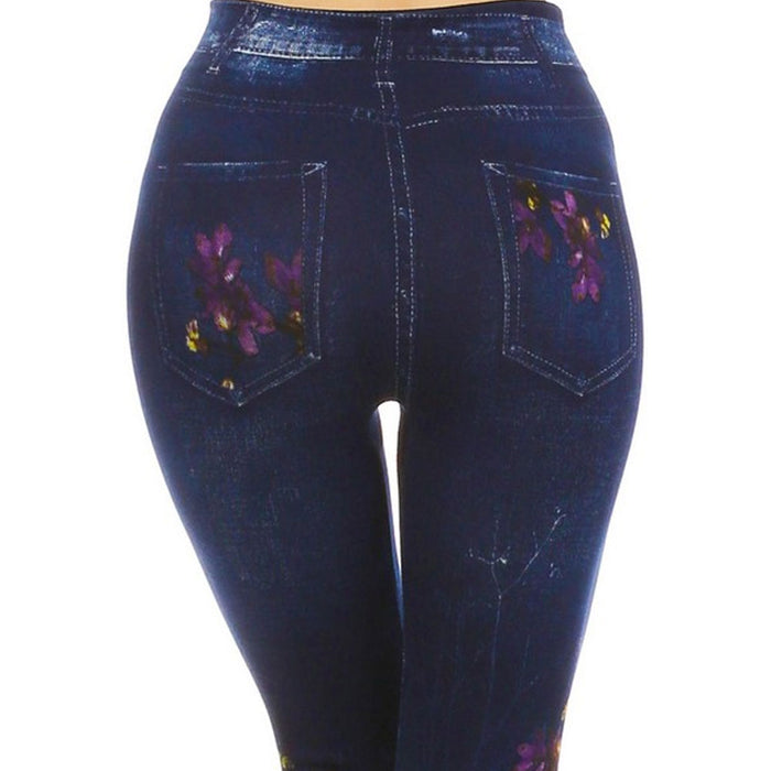 1 Women Casual Skinny Leggings Stretchy Jeans Pants Pencil Jeggings Floral Print