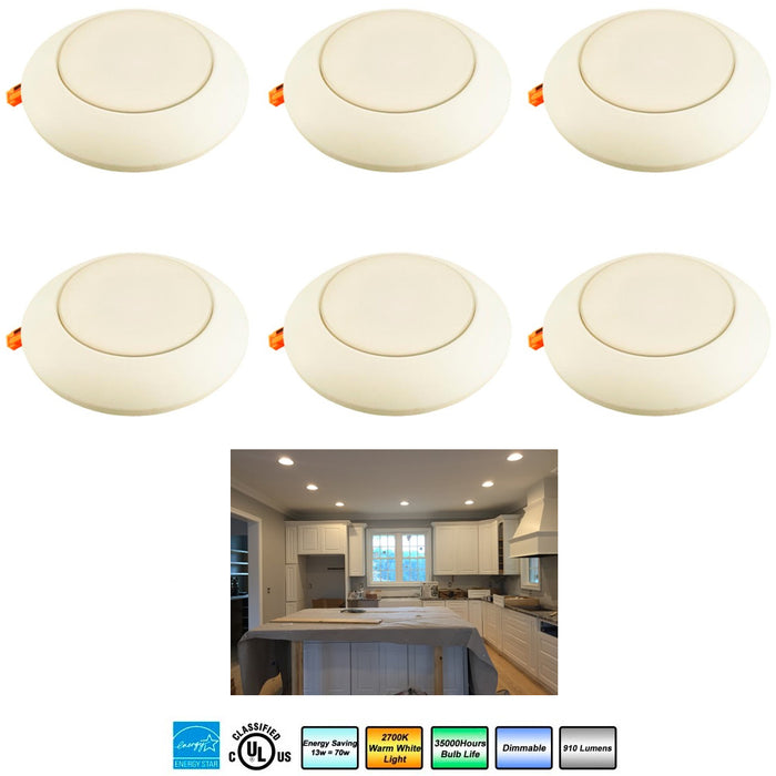 "6 Pc 4"" Recessed Led Fixture Light Dimmable 13 Watt Ceiling Lighting Round"
