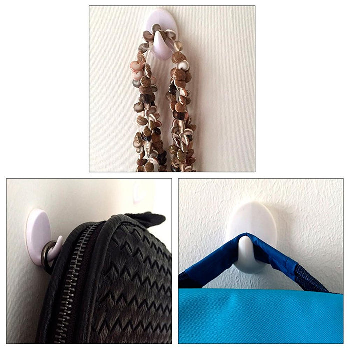 6 Removable Hooks Wall Mount Strong Adhesive Door Holder Sticky Kitchen House !