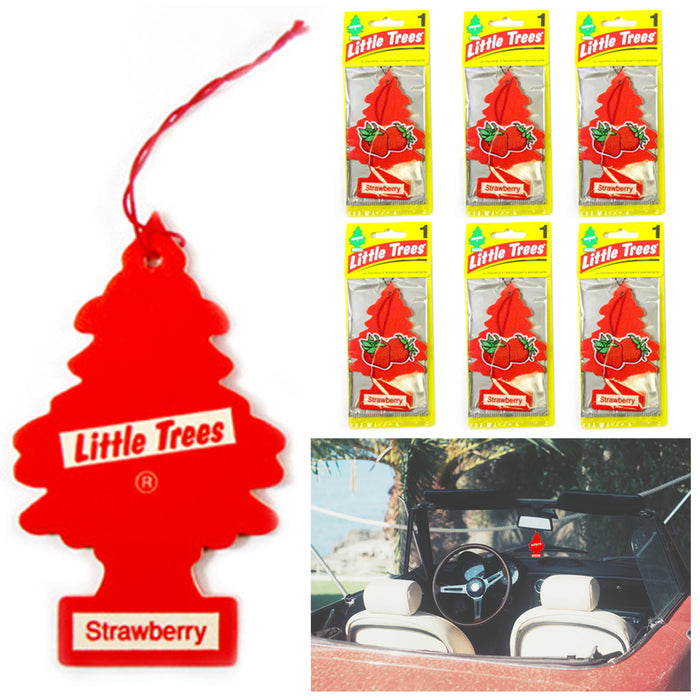 6 Pc Strawberry Scent Little Trees Air Freshener Home Car Hanging Office Aroma
