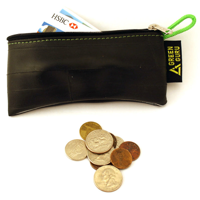 Green Guru Recycled Zip Pouch Black Tire Tube Coin Wallet Bike Trucker Gift Smal